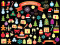Christmas and new year icons set of over black Royalty Free Stock Image