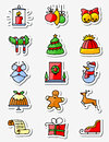 Christmas and New Year icons set. Thin simply line stickers