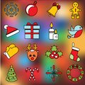 Christmas and new year icons. Vector set of winter holidays symbols, stickers, labels. Bauble, mittens, sock, candy canes and othe Royalty Free Stock Photo