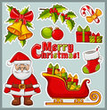 Christmas and New Year icons. Vector stickers set. Royalty Free Stock Photo