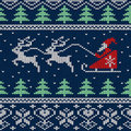 Christmas and new year knitted seamless pattern or card with santa in sleigh deers Royalty Free Stock Image