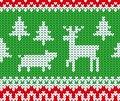 Christmas and New Year knitted seamless pattern with deer, pig and fir trees