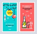 Christmas and New Year linear cards set with christmas tree branches, balls, champagne bottle and wine glasses. Vector. Royalty Free Stock Photo