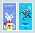 Christmas and New Year cards set with cute reindeer character giving a gift and bird sitting on a omela branch. Vector.