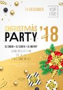 Christmas, New Year 2018 party invitation poster design for winter holiday celebration. Vector 24 December night party banner of g