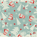 Christmas and New Year pattern with mittens and Christmas trees. Winter holiday. Royalty Free Stock Photo