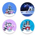 Christmas, new year round signs set with cute cartoon characters on white