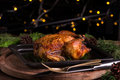 Christmas and new year's eve dinner: roasted whole chicken / turkey Royalty Free Stock Photo