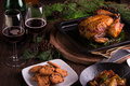 Christmas and new year's eve dinner: roasted whole chicken / turkey, sweet potato salad and dessert Royalty Free Stock Photo