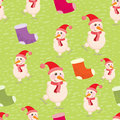 Christmas and new year seamless background with snowmen vector illustration eps Stock Photography
