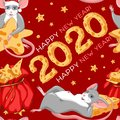 Christmas or New year seamless pattern with cute Rat. Chinese year of Rat 2020. Two rats wish fulfillment of wishes and a wonderfu Royalty Free Stock Photo