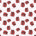 Christmas and New Year seamless pattern with red gift box and pink circles on white background.