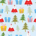 Christmas and new year seamless pattern santa claus gift and c tree background Stock Photography