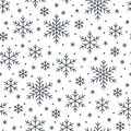 Christmas, new year seamless pattern, snowflakes line illustration. Vector icons of winter holidays, cold season snow Royalty Free Stock Photo