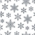 Christmas, new year seamless pattern, snowflakes line illustration. Vector icons of winter holidays, cold season snow