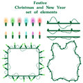 Christmas and New Year set of elements garlands of colored lights for holidays design. Burning multicolored lightbulb and wires is