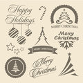 Christmas and new year symbols and design elements for postcard invitation poster others decoration collection set of calligraphic Stock Image