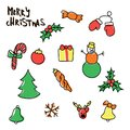 Christmas New Year symbols- pine, gift, candy, deer, bell, toy, lettering, Holly berry, snow man, cane, mitten, bauble.