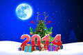 Christmas new year text d rendered illustration of Royalty Free Stock Photography