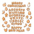 Christmas and New Year text, gingerbread alphabet and cute traditional holiday cookies. Sugar coated letters and numbers