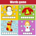 Christmas and New Year theme word game for kids and toddlers. Educational children game Royalty Free Stock Photo