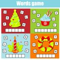 Christmas and New Year theme word game for kids and toddlers. Educational children game. Put letters in grid Royalty Free Stock Photo