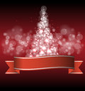 Christmas and new year tree with lights Royalty Free Stock Image