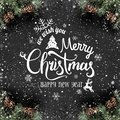 Christmas and New Year Typographical on dark holiday background with frame of Fir branches, pine cones, snowflakes. Royalty Free Stock Photo
