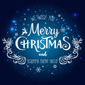 Christmas and New Year typographical on holidays background with snowflakes, light, stars. Vector Illustration