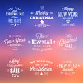 Christmas and new year vintage sales typography or discount labels on abstract background Royalty Free Stock Photography