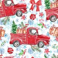 Christmas and New Year winter background with snowflakes, red vintage car, fir tree, holiday decor and ornaments Royalty Free Stock Photo