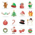 Christmas New Year Winter Holiday Xmas Isolated Icons Set Cartoon Design Vector Illustration Royalty Free Stock Photo
