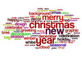 Christmas and new year word cloud on white Royalty Free Stock Photo