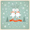 Christmas and new years card two cute rabbits Stock Photo