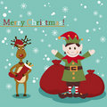 Christmas and New Years greeting card with elf and Royalty Free Stock Photos
