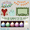 Christmas and new years inscriptions items and ba vector set backgrounds for decoration design Stock Photo