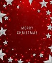 Christmas and New Years red background with frame made of cutout paper stars. Merry christmas concept. Royalty Free Stock Photo