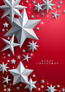 Christmas and New Years red background with frame made of stars Royalty Free Stock Photo