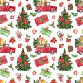 Christmas and New Years seamless pattern with watercolor red truck, fir tree, cake, holly, poinsettia flower, candy cane and gift Royalty Free Stock Photo