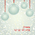 Christmas newyear greeting card with balls on snowflakes backgro and decorative vector elements and background glass red ribbon Royalty Free Stock Photo