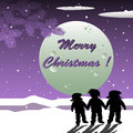 Christmas night abstract colorful background with three children holding their hands on Royalty Free Stock Image