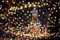 Christmas night moscow atmosphere holiday background with kremlin spassky tower in center Stock Photos