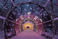Christmas night moscow the light tunnel on tverskoy boulevard russia Royalty Free Stock Images