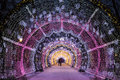 Christmas night Moscow. The light tunnel on Tverskoy Boulevard Royalty Free Stock Photo