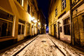 Christmas night in old riga in latvia street of winter time Stock Image