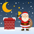 Christmas night with santa claus happy cartoon character the sack of gifts and a jingle bell on a snowy roof near a chimney eps Stock Photo
