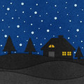 Christmas night with santa recycled papercraft. Royalty Free Stock Images