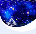 Christmas night sky background and fir tree. Royalty Free Stock Photo