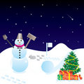Christmas night with snowman Stock Image