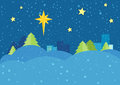 Christmas Night Vector Concept in Flat Design Royalty Free Stock Photo